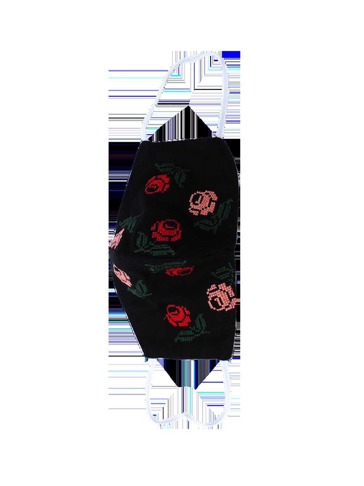 Cubrebocas negro con rosas rojas